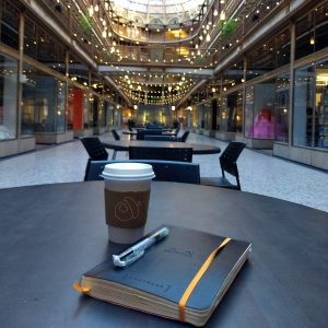 Rhodia Goalbook, a multi pen, cup of coffee, at the Galleria in Cleveland, OH