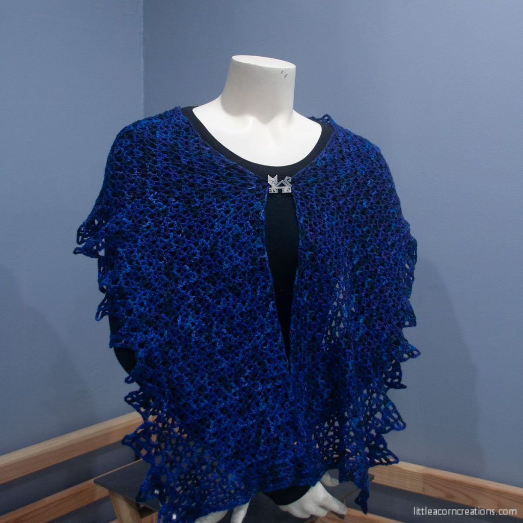 Blue Gems Capelet, pinned