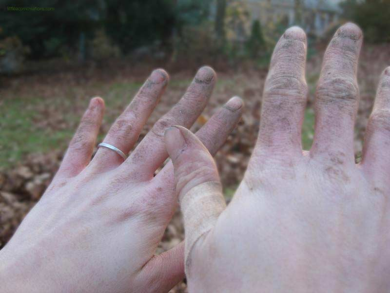 Hands being held over a lawn and autumn leaves. The fingers are covered in dirt and it's caked into the nail beds. The right thumb has a bandage.